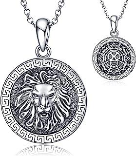قلادة سلسلة قلادة من الفضة الإسترلينية على شكل رأس الأسد من POPLYKE هدايا مجوهرات مزدوجة الجوانب للرجال له صديق للزوج