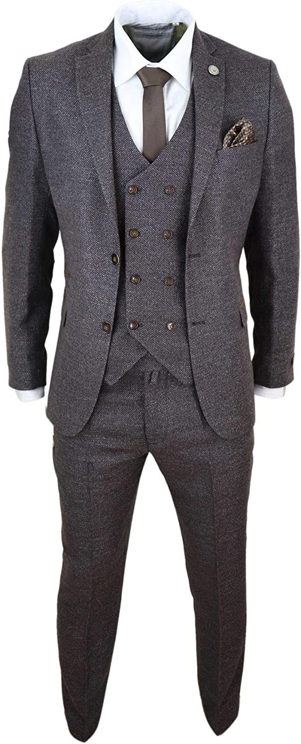 TruClothing.com Mens Wool 3 Piece Suit Double Breasted Waistcoat Tweed 1920s