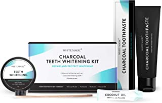 White Magic Supreme All-in-one Teeth Whitening Kit | Charcoal Toothpaste, Activated Charcoal Powder, Coconut Oil, Bamboo Toothbrush | All Natural, Free from Harmful Chemicals (Teeth Whitening Kit)