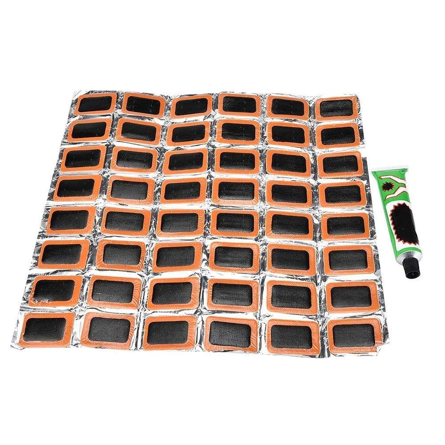 急勾配の時計乳製品MercuryGo 自転車 パンク 修理パッチキット インナーチューブ用 接着ゴムパンク 修理パッチ48個 +グルー 自転車用 修理ツール