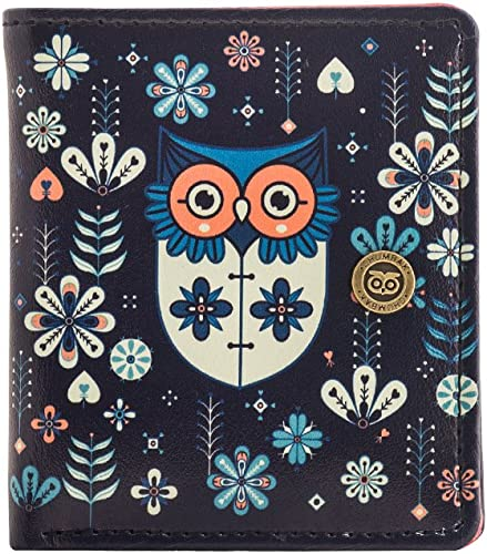 Mini Flower owl Snap Button Wallet