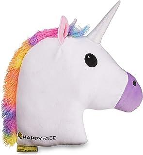 Happy Face Cojín de unicornio – Almohada Emoji Pillow cojín decorativo 32 cm x 32 cm acolchado