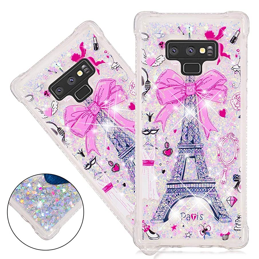 ISADENSER Samusng Galaxy Note 9 Case Samusng Note 9 Clear Soft TPU Case with Design air Thicked Corner 3D Hearts Quicksand Shiny Flowing Liquid Protective Case for Samusng Galaxy Note 9 Paris Tower