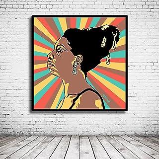 Pop Art Nina Simone Poster dans le Cadre - 95 x 95 cm - Framed Papier Photo mat 180 Gramme - Tableau Affiche Pop Art Peint...