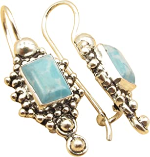 LARIMAR Earrings Gemstone, 925 Sterling Silver Plated Factory Direct Jewelry 3 cm Wholesale Price
