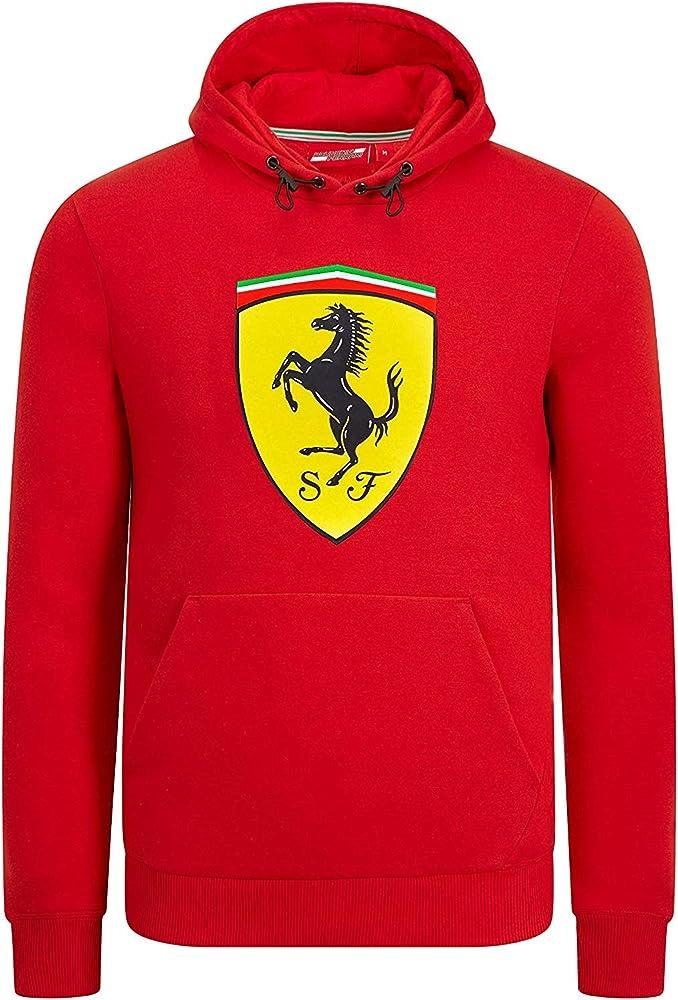 Branded sports merchandising b.v.,felpa con cappuccio e logo,scuderia ferrari f1,80% cotone / 20% elastan 130191014-600-220