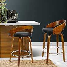 2 x Artiss Bar Stool Swivel Leather Upholstery Counter Bar Chair Wooden Kitchen Dining Stool, Black