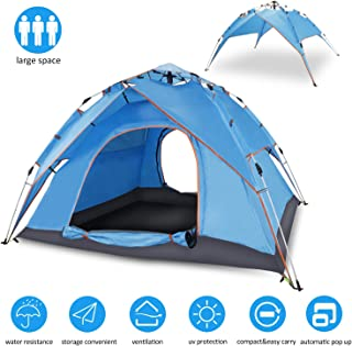 Cheryu Automatic Hydraulic Double Layers Tent for Camping Beach Outdoor Hiking Fishing Travel, UV Protection Waterproof Pop Up 2 3 4 Persons 4 Season Backpacking Tent with Carry Bag