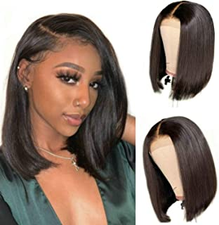 Lace Front Wigs Human Hair Bob Wigs For Black PU Lace Closure Remy Human Hair Pre Plucked Middle Part Short Bob wigs 14 inch