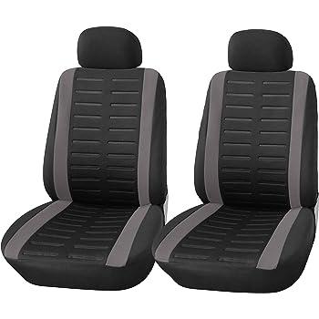 Upgrade4cars Coprisedili Auto Anteriore Universali Nero Grigio Set Copri-Sedile Universale per Guidatore e Passeggero con Airbag Laterali Accessori Auto Interno