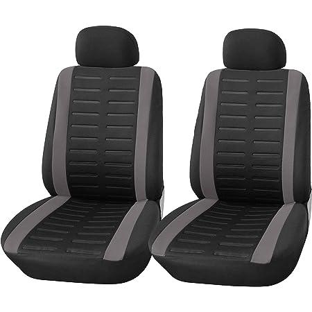 Upgrade4cars Auto Sitzbezüge Vordersitze In Schwarz Auto Sitzbezug Set Universal Für Fahrersitz Und Beifahrer Auto Zubehör Innenraum Auto