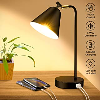Industrial Dimmable Desk Lamp with 2 USB Charging Ports AC Outlet, Touch Control Bedside Nightstand Reading Lamp Flexible Head, Black Metal Table Lamp for Bedroom Office Living Room, Bulb Included