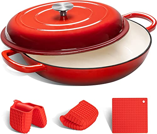 discount MICHELANGELO online Cast Iron Braiser Pan with Lid, 3.5 Quart Enameled Cast Iron Casserole Dish, Covered high quality Shallow Dutch Oven Enamel Cast Iron Cookware with Silicone Accessories, Oven Safe Braiser-Cherry Red outlet sale