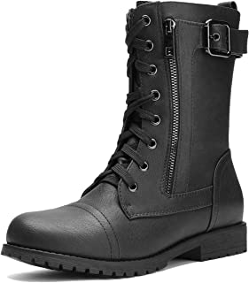 Women's Ankle Bootie Winter Lace up Mid Calf Military Combat Boots