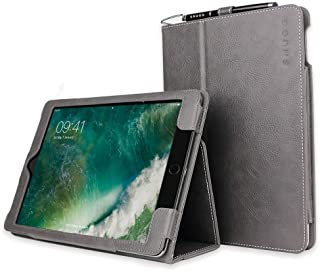 iPad Air 2 Case, Snugg - Shark Skin Grey Leather Smart Case Cover Apple iPad Air 2 Protective Flip Stand Cover with Auto Wake/Sleep