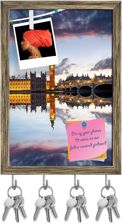 Artzfolio Parliament, Big Ben & Westminster Bridge, London UK Key Holder Hooks   Notice Pin Board   Antique golden Frame 12 X 17.6Inch