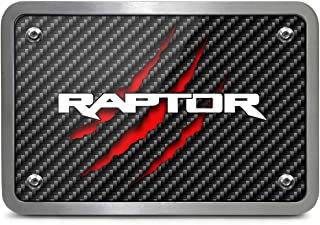 iPick Image Ford F150 Raptor 2017 to 2018 Claw Marks Black Carbon Fiber Look UV Graphic Billet Aluminum 2 inch Tow Hitch Cover, Made in USA