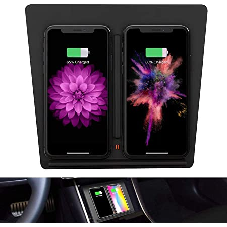 EEIEER Tesla Model 3 Car Center Console Wireless Phone Charger Pad Dual QI Wireless Charging Charger Panel with USB Splitter Cable for Latest Upgraded Tesla Model 3 (Black)