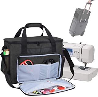 Teamoy Sewing Machine Bag, Travel Tote Bag for Most Standard Sewing Machines and Accessories, Black