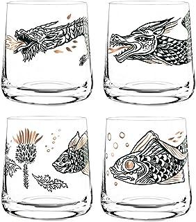 Dekomiro Ritzenhoff Whisky Whiskeyglas 4er Set Frühling 2020 von Olaf Hajek mit Glasreinigungstuch