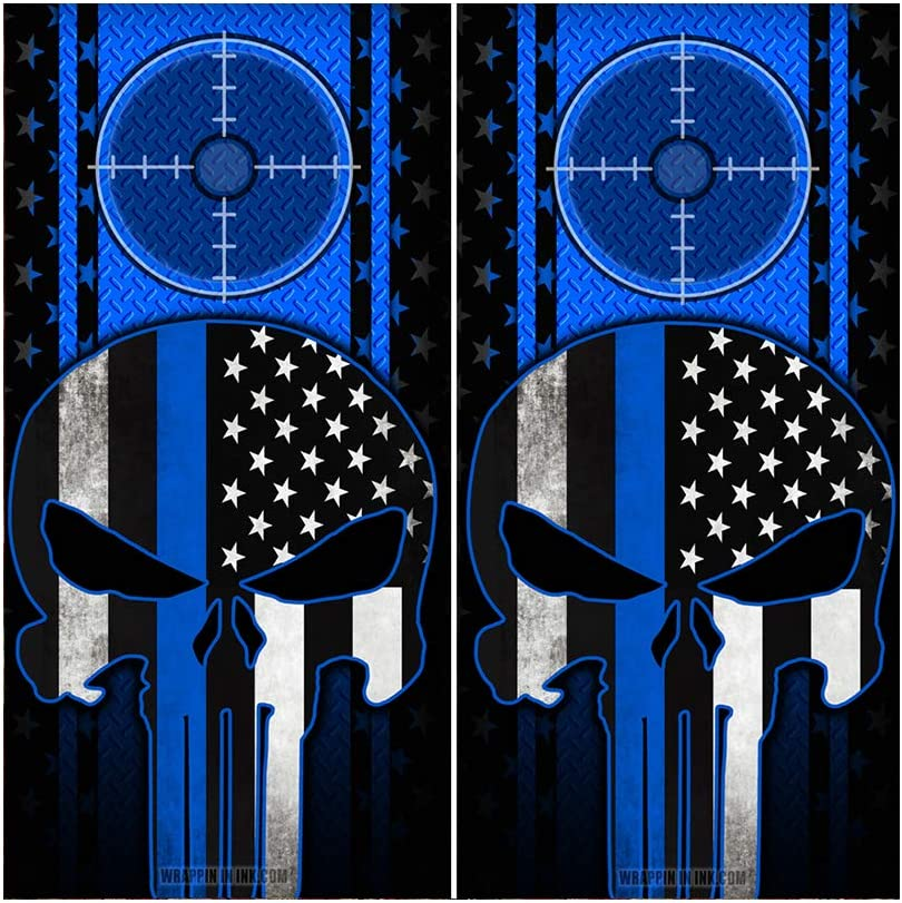 Decals N Designs Blue Punisher Fl American Diamond Max 73% lowest price OFF Plate Subdued