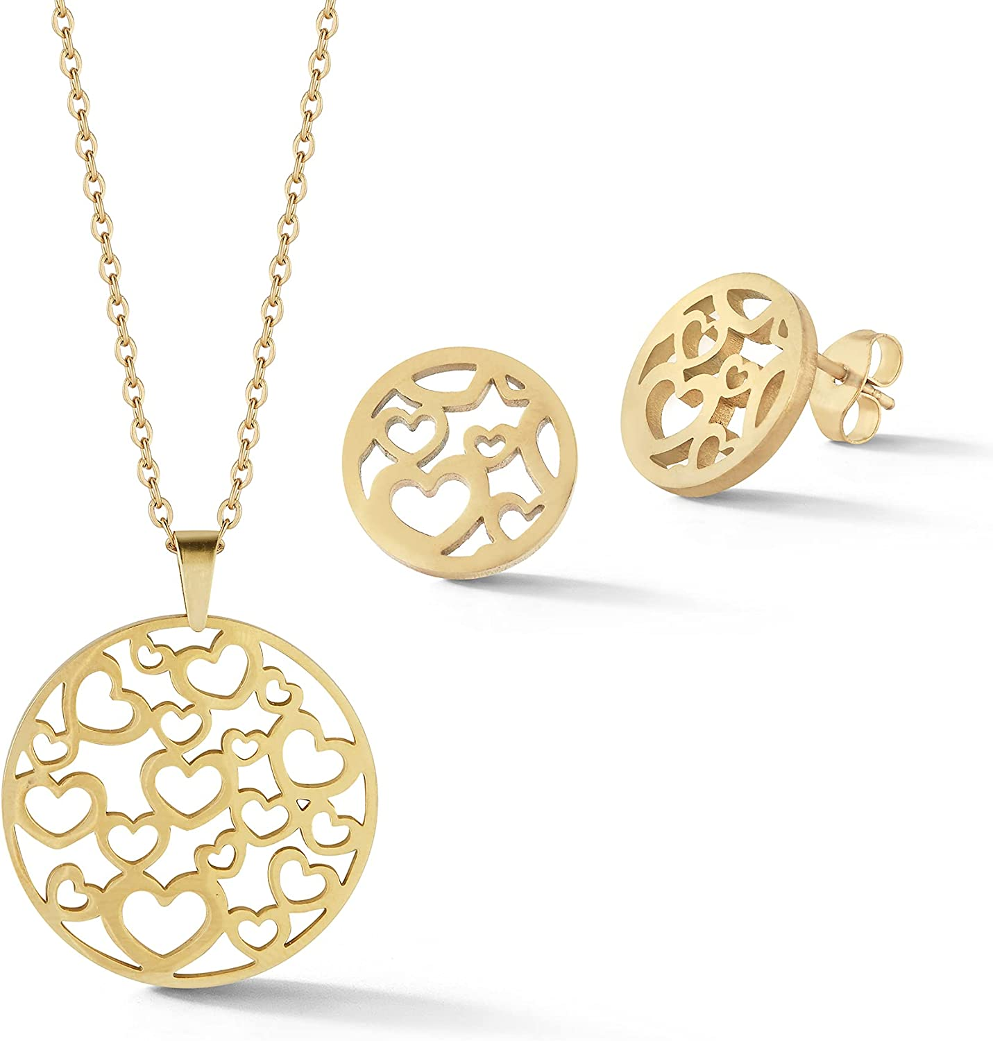 18k Plated Gold Jewelry Set for a Timeless Look - Versatile Heart Jewelry for Women to Accent Any Outfit - Quality Earring and Necklace Set for Women - Heart Necklace Jewelry for Women