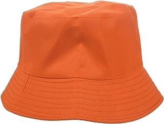 SODIAL Unisex Adults Cotton Bucket Hat Summer Fishing Boonie Beach Festival Sun Cap, Orange