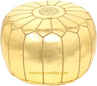 moroccan poufs leather luxury ottomans footstools gold unstuffed