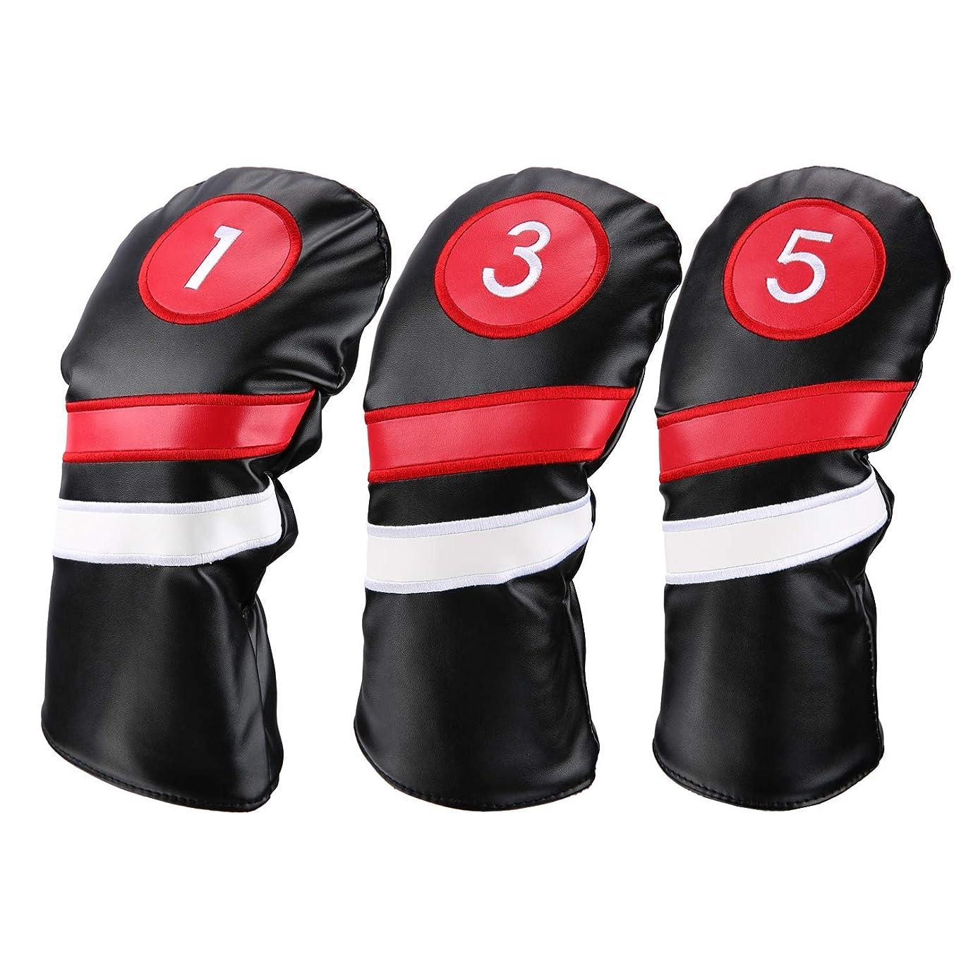 ワーム前部不正確LONGCHAO ゴルフウッドカバー Golf head covers ヘッドカバー クラブカバー ウッドカバー ドライバー 新デザイン 交換可能な番号タグ付き 3個セット