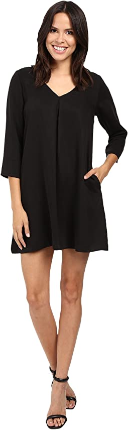 Tencel Vee Neck Swing Dress