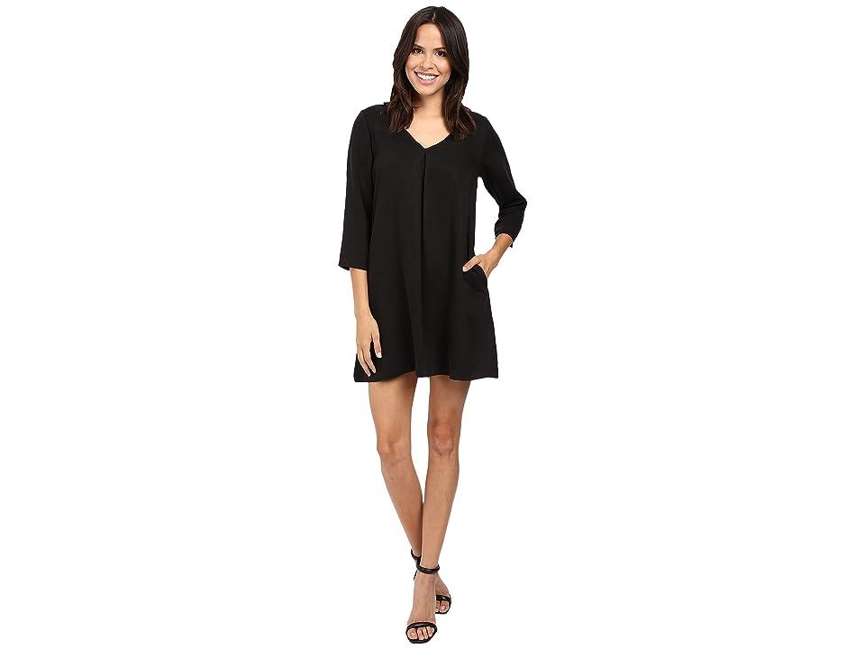 Michael Stars Tencel Vee Neck Swing Dress (Black) Women