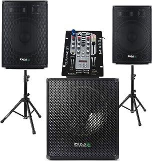 Table de Mixage BLUETOOTH USB DJM150 - Caisson de Basses Amplifiés 800W - 2 Enceintes 600W Total - 2 Pieds - Micro, Casque...