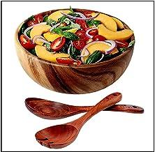 WOOD SALAD BOWL - Acacia Wooden Salad Serving Bowl with Wood Salad Servers, Wooden Salad Spoon & Serving Fork Set, Large W...