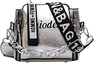 COAFIT Women's Satchel Bag Fashion Wide Strap Letter Shoulder Bag with Handle (Silver)