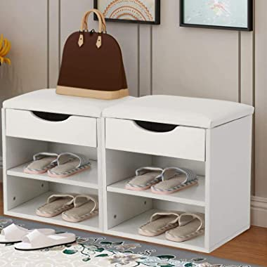 Wooden Shoe Rack with Seat Shoes Storage Bench Shoe Cabinet Bench with 2 Storage Shelves Shoes Storage Organizer Cabinet Padd