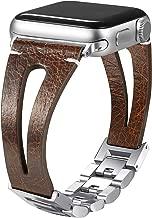 Secbolt 42mm/44mm Leather Bands Compatible Apple Watch Band Series 4 & 5 44mm, Series 3/2/1 42mm, Handmade Vintage Leather Bracelet