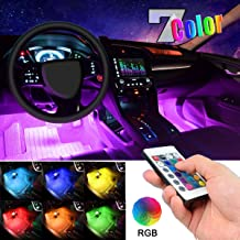 Car LED Strip Light, EJ's SUPER CAR 4pcs 36 LED Multi-color Car Interior Lights Under Dash Lighting Waterproof Kit with Multi-Mode Change and Wireless Remote Control, Car Charger Included,DC 12V…