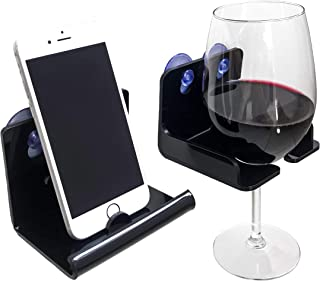 Atlas Hold Acrylic Shower Beer Holder, Bathtub Wine Glass Holder, Suction Phone Holder | Bathroom Wine Caddy | Wine Accessories and Beer Gifts | Drinking Gifts & Bath Accessories (Set of 2) Black