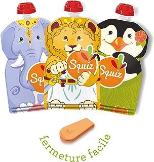 Squiz Classic Drinkflessen, herbruikbaar, 130 ml, voor compoten en pureen, perfect voor kinderen, jongeren en volwassenen,...