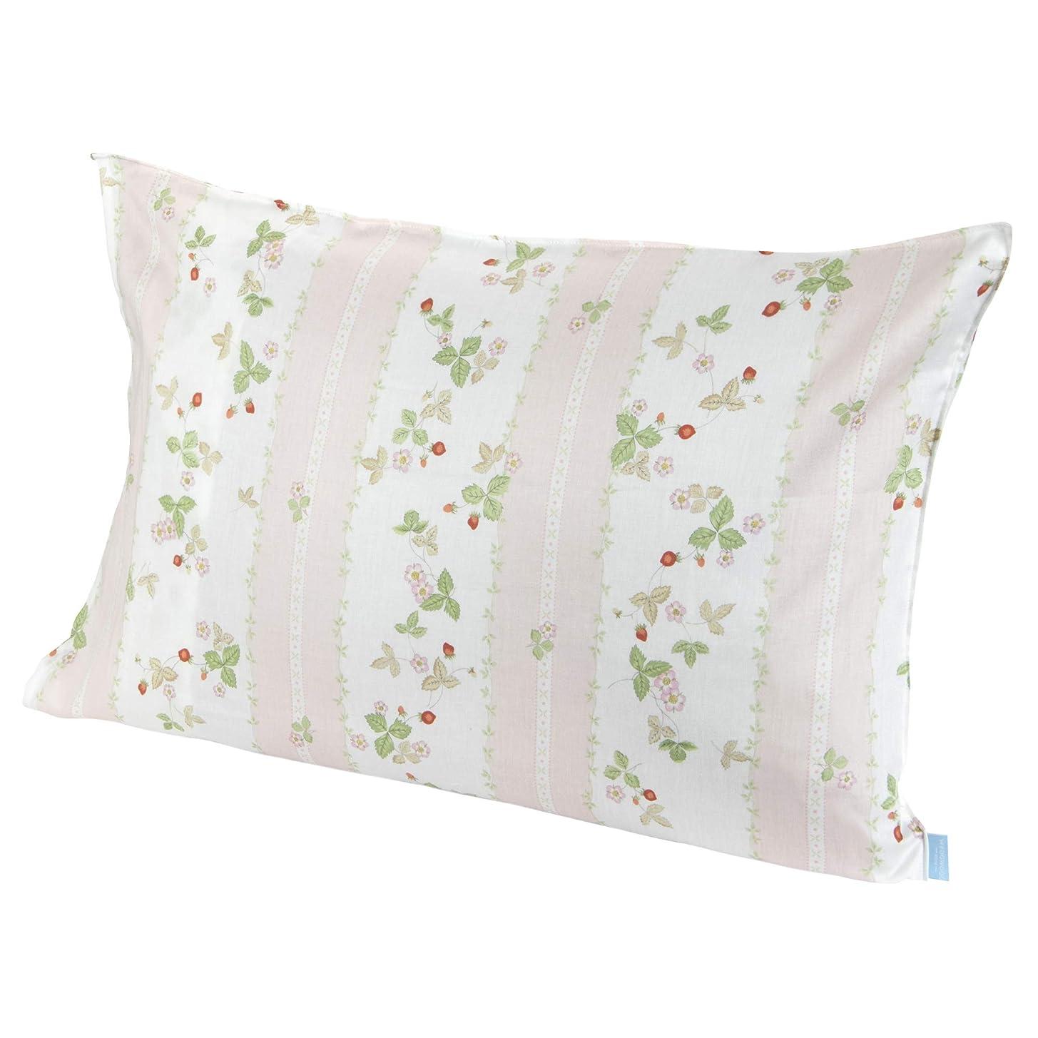 リム期待して耕す東京西川 枕カバー ピンク 63X43cm のサイズの枕用 ウェッジウッド ワイルドストロベリー 綿100% 日本製 PJ07305679P