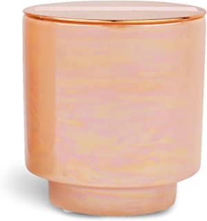 Paddywax Candles Glow Collection Scented Soy Wax Blend Candle in Iridescent Ceramic Pot, Medium- 17 Ounce, Rosewater & Coconut