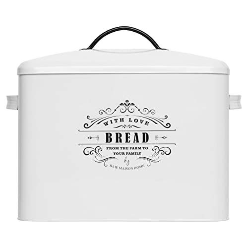 Extra Large White Bread box - Bread Boxes for Kitchen Counter Holds 2+ Loaves for All Your Bread Storage   Bread Container Counter Organizer to suit Farmhouse Kitchen Decor, Vintage Kitchen, Rustic