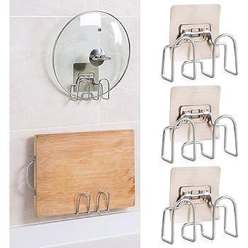 鍋蓋置き 壁掛け 鍋蓋スタンド まな板 スタンド 鍋蓋ラック 鍋のふた キッチン収納 鍋置きラック 鍋蓋置き 強力粘着固定 穴あけ不要 3個