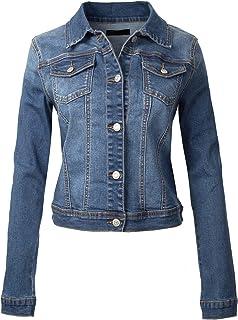 Design by Olivia Women's Classic Casual Vintage Denim Jean Jacket