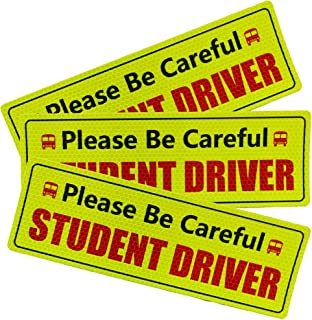 CARAVAN Student Driver Magnet for Car, Premium Quality Reflective Warning Student Driver Bumper Safety Sign, Reusable Unlike a Decal or Bumper Sticker (3 Pack)