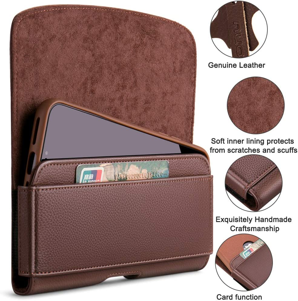 nuoku for iPhone Xs Max Holster iPhone XR Belt Pouch Clip Holster with ID Card for Apple iPhone Xs Max//XR iPhone8Plus 7Plus 6//6sPlus Galaxy Note9 Note8 with Other Case On Max 6.5Brown ...