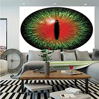 SoSung Reptiles Wall Mural,Creepy Exotic Cat Eye Illustration Scary Egyptian Pharaoh Iris Mystic Vision Decor,Self-Adhesive Large Wallpaper for Home Decor 55x78 inches,Black Green Red
