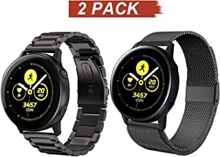 Acestar Compatible Samsung Galaxy Watch Active 2 40mm/44mm Bands, 20mm Stainless Steel Metal Band+ Mesh Strap Bracelet Replacement for Samsung Galaxy Watch Active 2