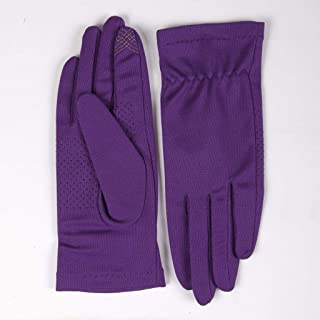 JCCOZ Touch Screen Gloves Sunscreen Breathable Non-Slip Outdoor Sports Driving Riding Gloves Full Finger Touch Screen (Color : Purple, Size : L)
