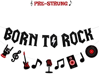 Born to Rock Glitter Banner with Music Note Garland 1950's Rock and Roll Party Decorations Music Theme Baby 1st Birthday Party Supplies 50s Rock Party Favors Record Wall Decor